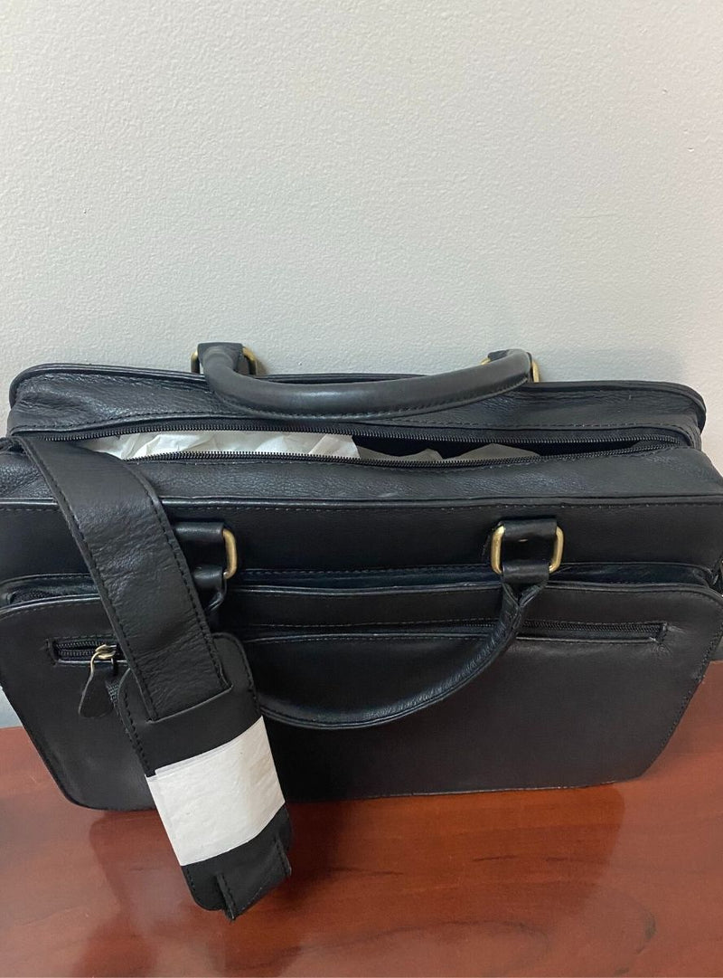 Leather Briefcase with Shoulder Strap
