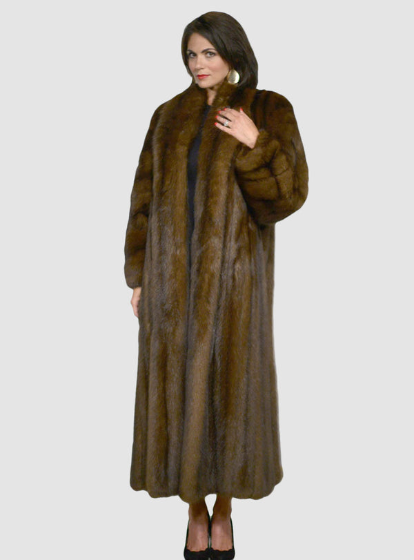 Women's Russian Sable Fur Coat with Shawl Collar