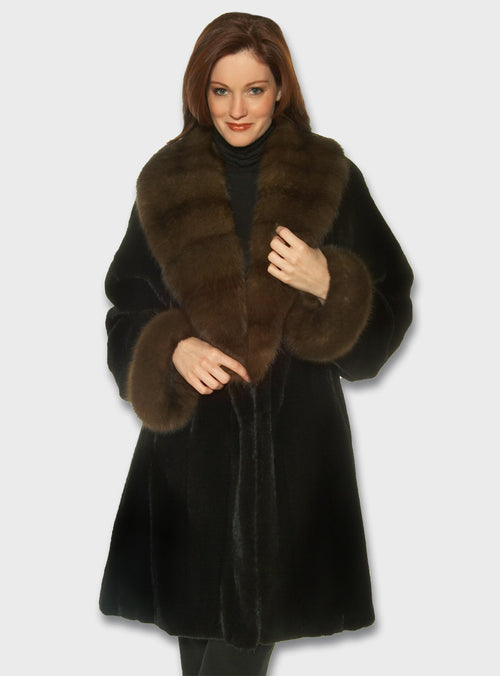 Mink Fur Stroller Sable Fur Collar and Cuffs