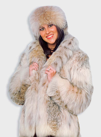 Canadian Lynx Fur Bolero Jacket with Shawl Collar