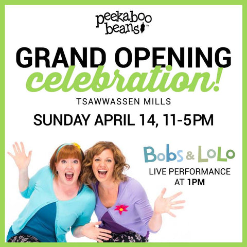 Peekaboo Beans Flagship store grand opening event with Bobs & LoLo.