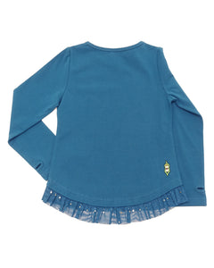 Back side of a product image of a teal coloured long-sleeve tee that has teal tulle with gold glitter around the hem.