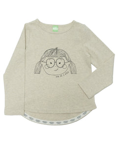 Product image of a heather oatmeal coloured long-sleeve tee with a line drawing of a girl on it. The girl has glasses and pigtails.