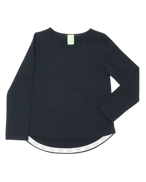Product image of a black long-sleeve tee for girls.