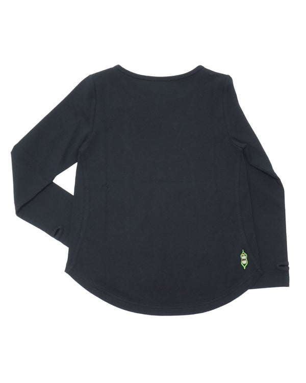 Product image of the back side of a black long-sleeve tee for girls.