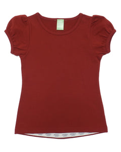 Product image of a gathered short-sleeve burgundy coloured tee for girls.