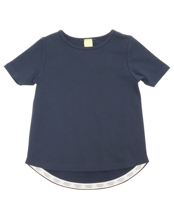 Product image of a navy coloured short-sleeve tee with longer hem in the back.