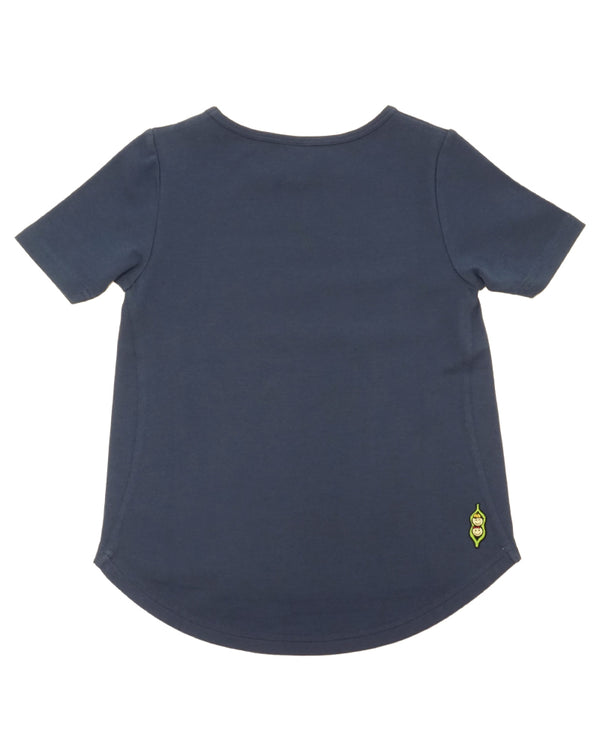 Product image of the back side of a navy coloured short-sleeve tee with longer hem in the back.