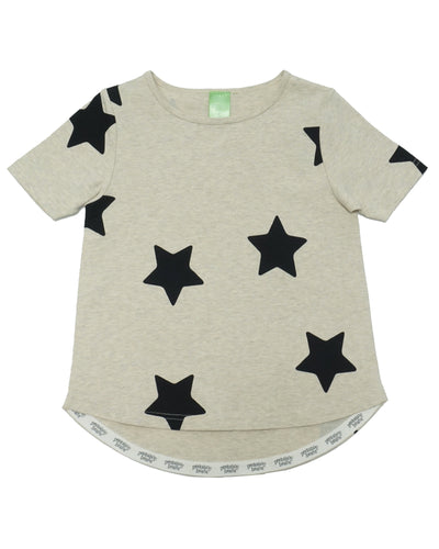 Product image of a heather oatmeal coloured short-sleeve tee with black stars screen printed onto it. Hem is longer in the back.