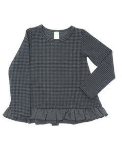 Product image of a long-sleeve, houndstooth printed pullover with a peplum ruffle hem.