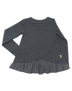 Back side of a product image of a long-sleeve, grey houndstooth printed pullover with a peplum ruffle hem and criss-cross detail.