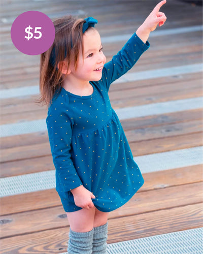 Tiny Twirler Dress - Night Sky Gold Dot