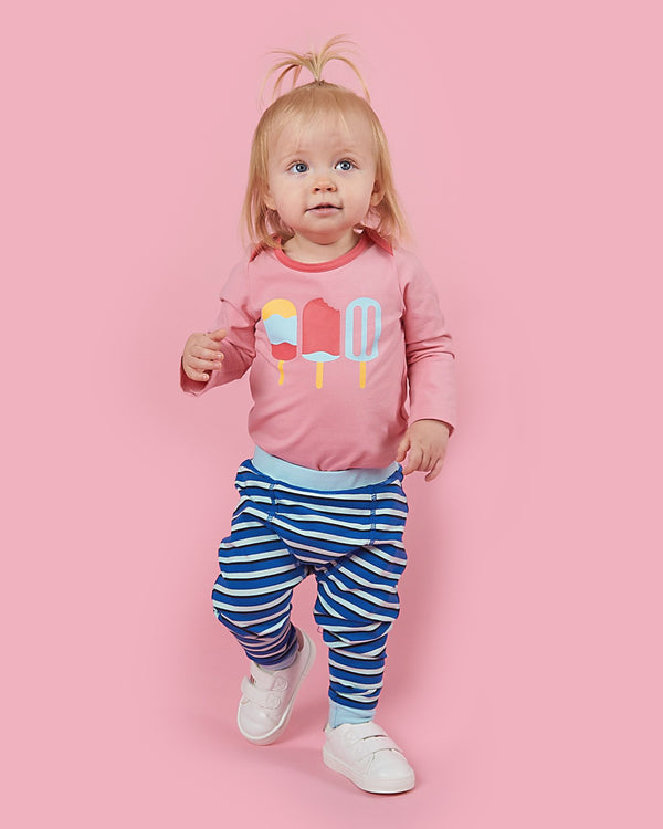 Baby Bean Pants - Cobalt Stripe