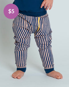Baby Bean Pants - Navy Slinky Stripe