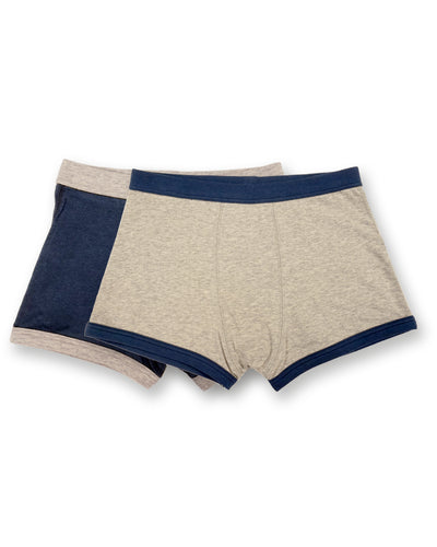 Underbeans Boxer - 2 Pack Heather Grey & Nautical Blue