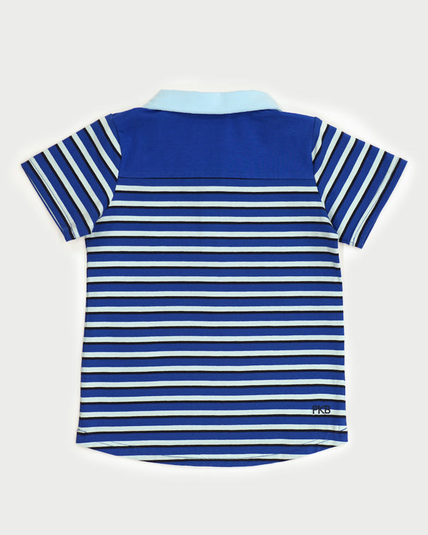 Count Down Tee - Cobalt Stripe