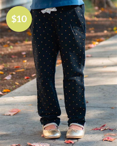 Fancy Pants Pants - Black Gold Dot
