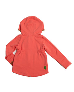 Back view of Product image of girls pink zip-up hoodie with colour-blocking details, pockets and thumb holes.
