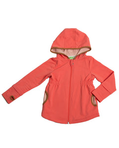 Product image of girls pink zip-up hoodie with colour-blocking details, pockets and thumb holes.