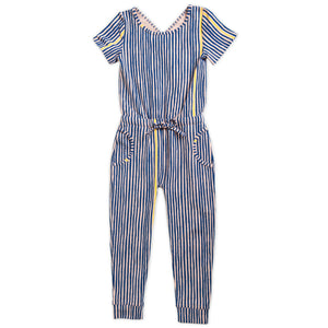 Product image of short-sleeved navy and yellow stripe printed romper for girls with a crossover design at the back neckline and drawstring at waist.