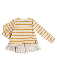 The back side of a product image of a yellow striped long-sleeve pullover with a ruffle hem and criss-cross detail.