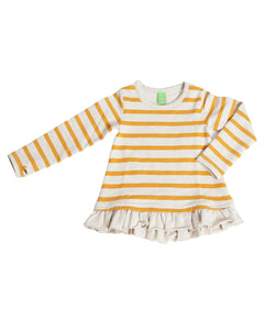 Product image of a yellow striped long-sleeve pullover with a ruffle hem.