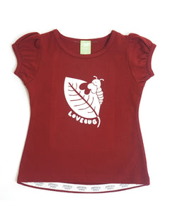 Gathered short-sleeve burgundy coloured tee for girls with screen printed graphic of a caterpillar biting a leaf.