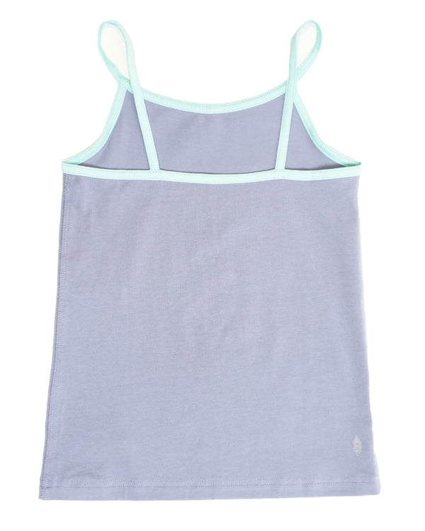 Product image of a tank-style undershirt for girls in lavender with contrast straps and piping in light aqua.