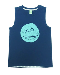 Product image of a boys navy tank with a smiley face graphic on the front. The smiley face has an x and o for eyes, as well as a skateboard for a mouth.