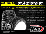 TPRO 1/8 OffRoad RAIDER Racing Tire Pre-Mounted - XR Soft T3 - Dish (1 Pair)