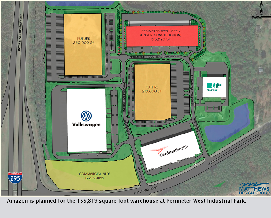 Amazon is planned for the 155,819-square-foot warehouse at Perimeter West Industrial Park.
