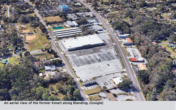 An aerial view of the former Kmart along Blanding. (Google)