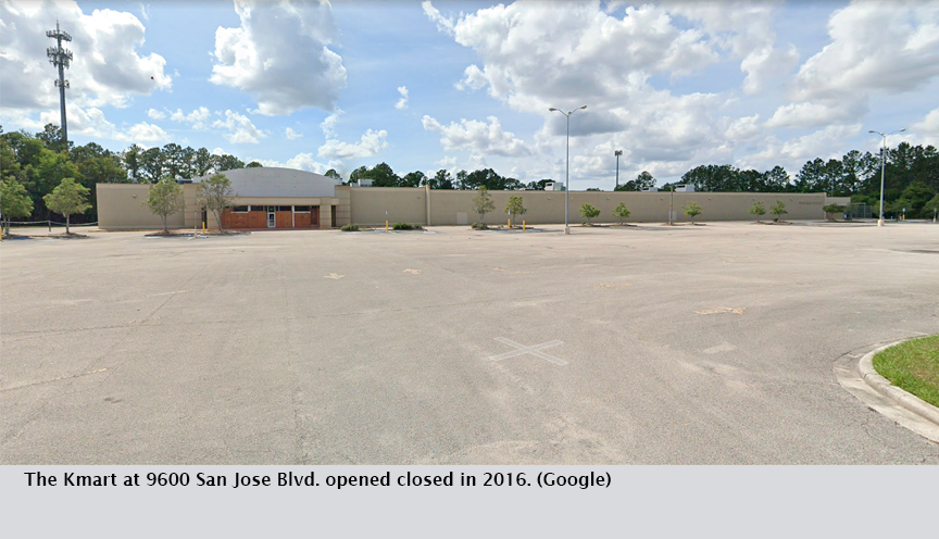 The Kmart at 9600 San Jose Blvd. opened closed in 2016. (Google)