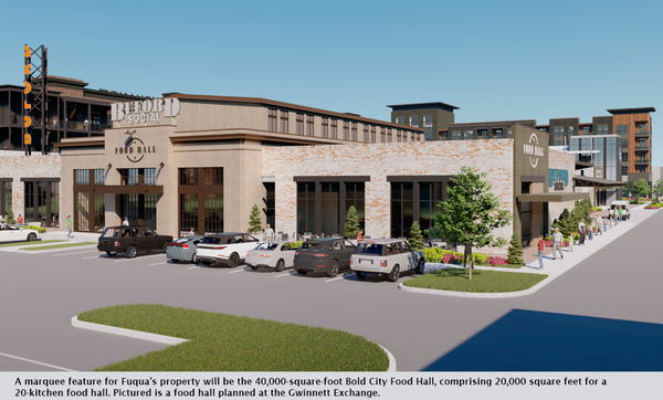 A marquee feature for Fuqua's property will be the 40,000-square-foot Bold City Food Hall, comprising 20,000 square feet for a 20-kitchen food hall. Pictured is a food hall planned at the Gwinnett Exchange.