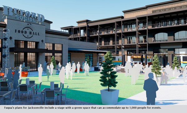 Fuqua's plans for Jacksonville include a stage with a green space that can accommodate up to 1,000 people for events.