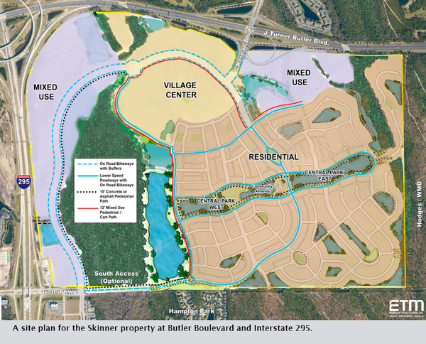 A site plan for the Skinner property at Butler Boulevard and Interstate 295.
