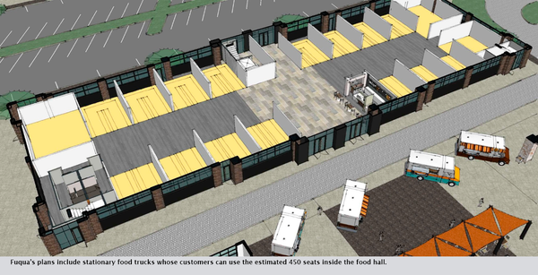 Fuqua's plans include stationary food trucks whose customers can use the estimated 450 seats inside the food hall.