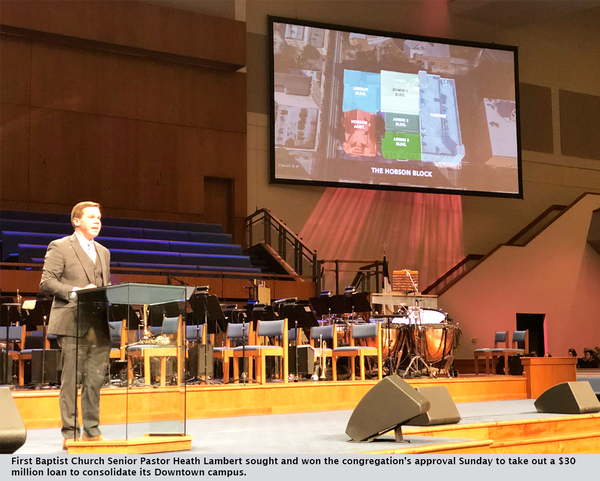 First Baptist Church Senior Pastor Heath Lambert sought and won the congregation's approval Sunday to take out a $30 million loan to consolidate its Downtown campus.