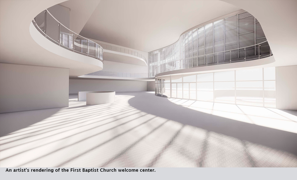 An artist's rendering of the First Baptist Church welcome center.
