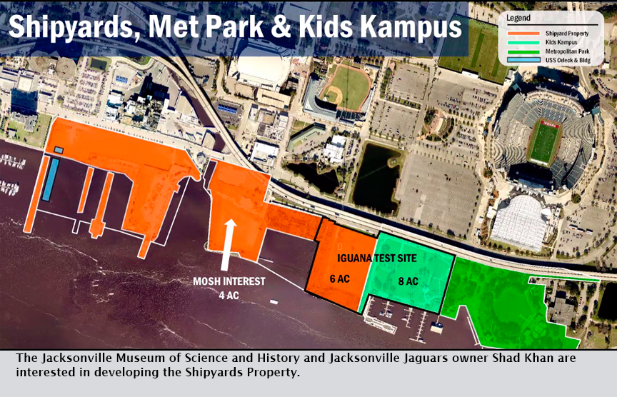 The Jacksonville Museum of Science and History and Jacksonville Jaguars owner Shad Khan are interested in developing the Shipyards Property.