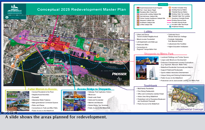A slide shows the areas planned for redevelopment.