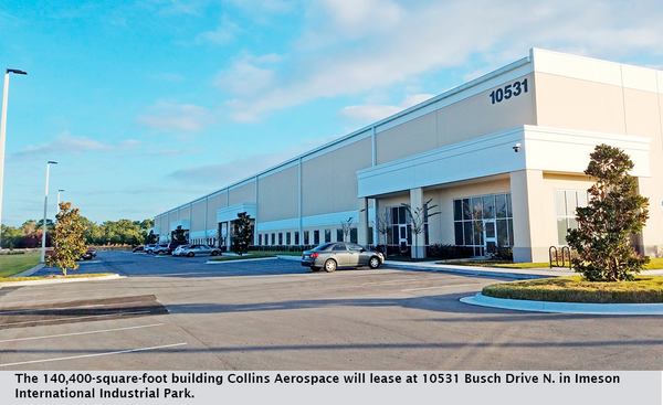 The 140,400-square-foot building Collins Aerospace will lease at 10531 Busch Drive N. in Imeson International Industrial Park.