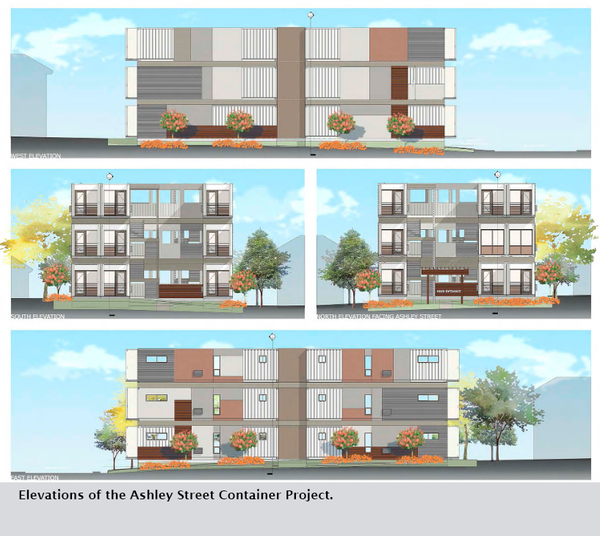 Elevations of the Ashley Street Container Project.