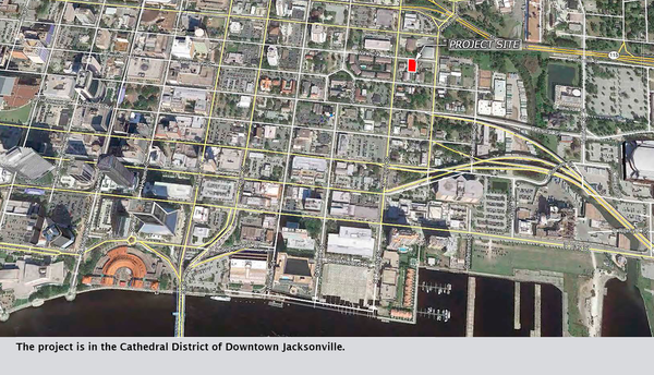 The project is in the Cathedral District of Downtown Jacksonville.
