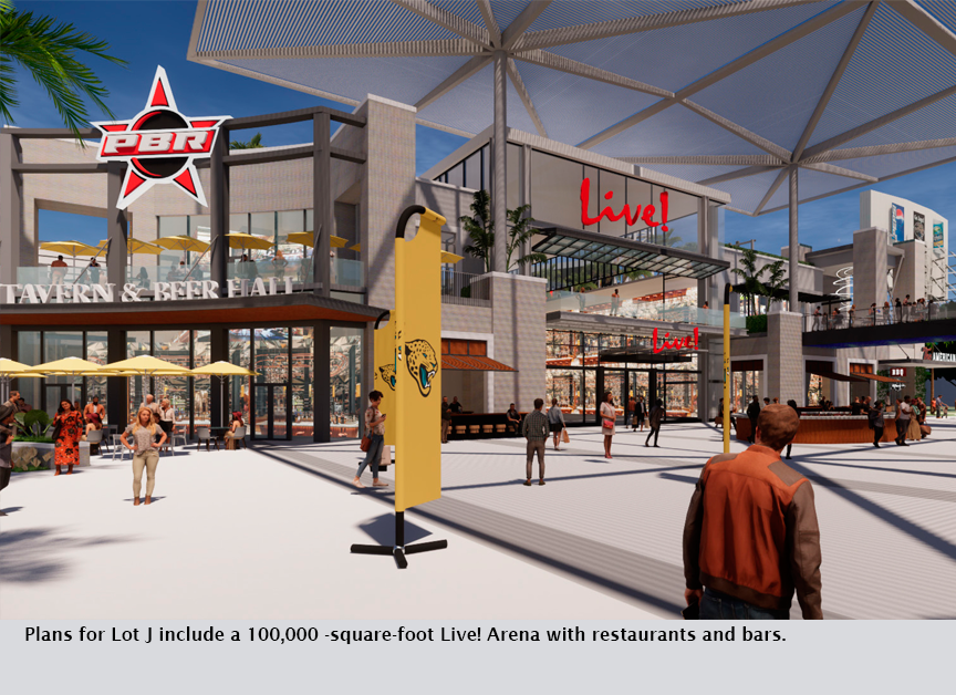 Plans for Lot J include a 100,000 -square-foot Live! Arena with restaurants and bars.