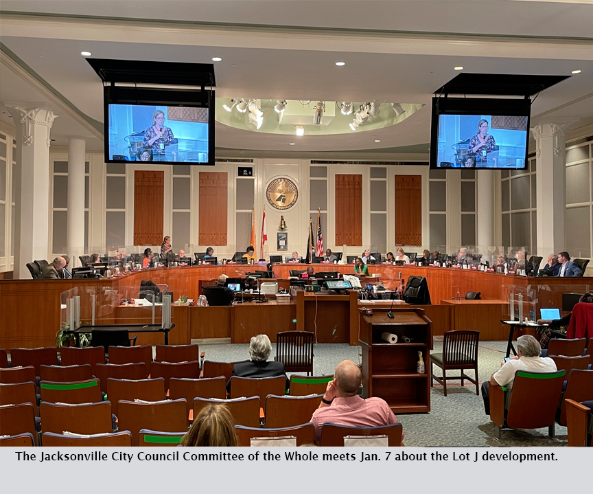 The Jacksonville City Council Committee of the Whole meets Jan. 7 about the Lot J development.