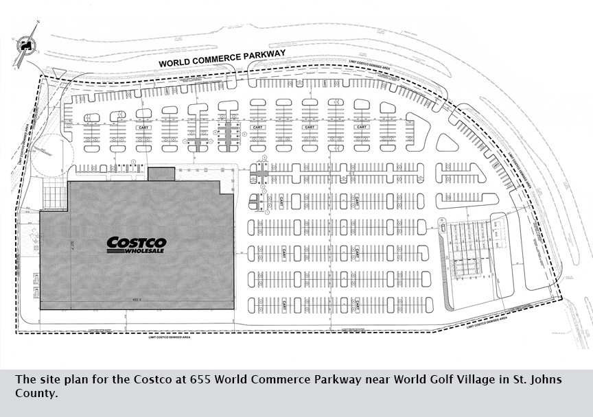 The site plan for the Costco at 655 World Commerce Parkway near World Golf Village in St. Johns County.