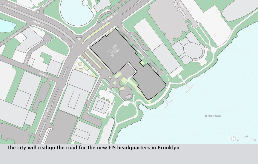 The city will realign the road for the new FIS headquarters in Brooklyn.