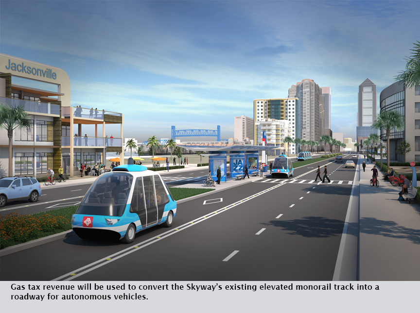 Gas tax revenue will be used to convert the Skyway's existing elevated monorail track into a roadway for autonomous vehicles.