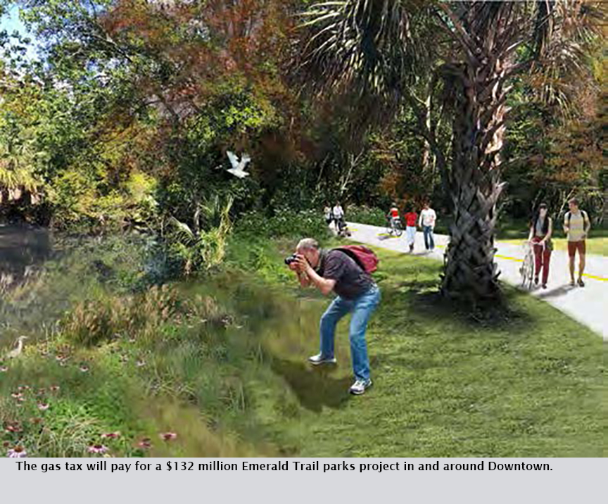 The gas tax will pay for a $132 million Emerald Trail parks project in and around Downtown.
